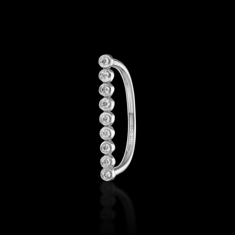 CALIFORNIA | 18K White Gold Round Diamond Bar Ring