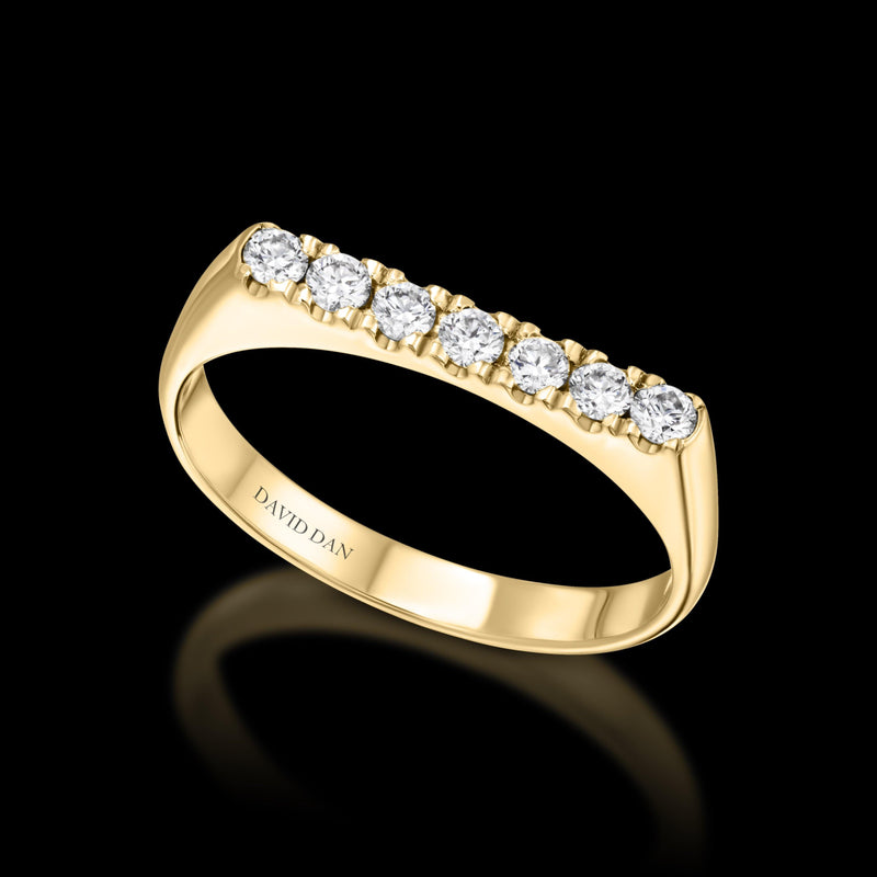 DOWNTOWN 7 Thick | 18K Yellow Gold Full Diamond Bar Stack Ring