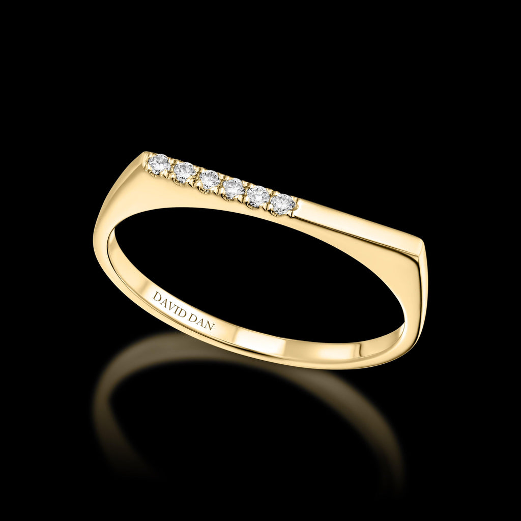 DOWNTOWN 6 Thin | 18K Yellow Gold Half Diamond Bar Stack Ring