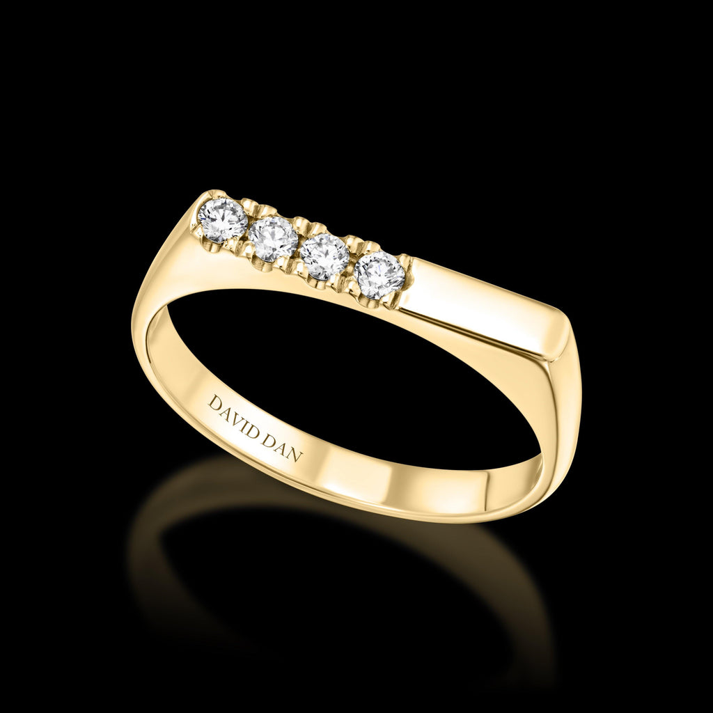 DOWNTOWN 4 Thick | 18K Yellow Gold Half Diamond Bar Stack Ring