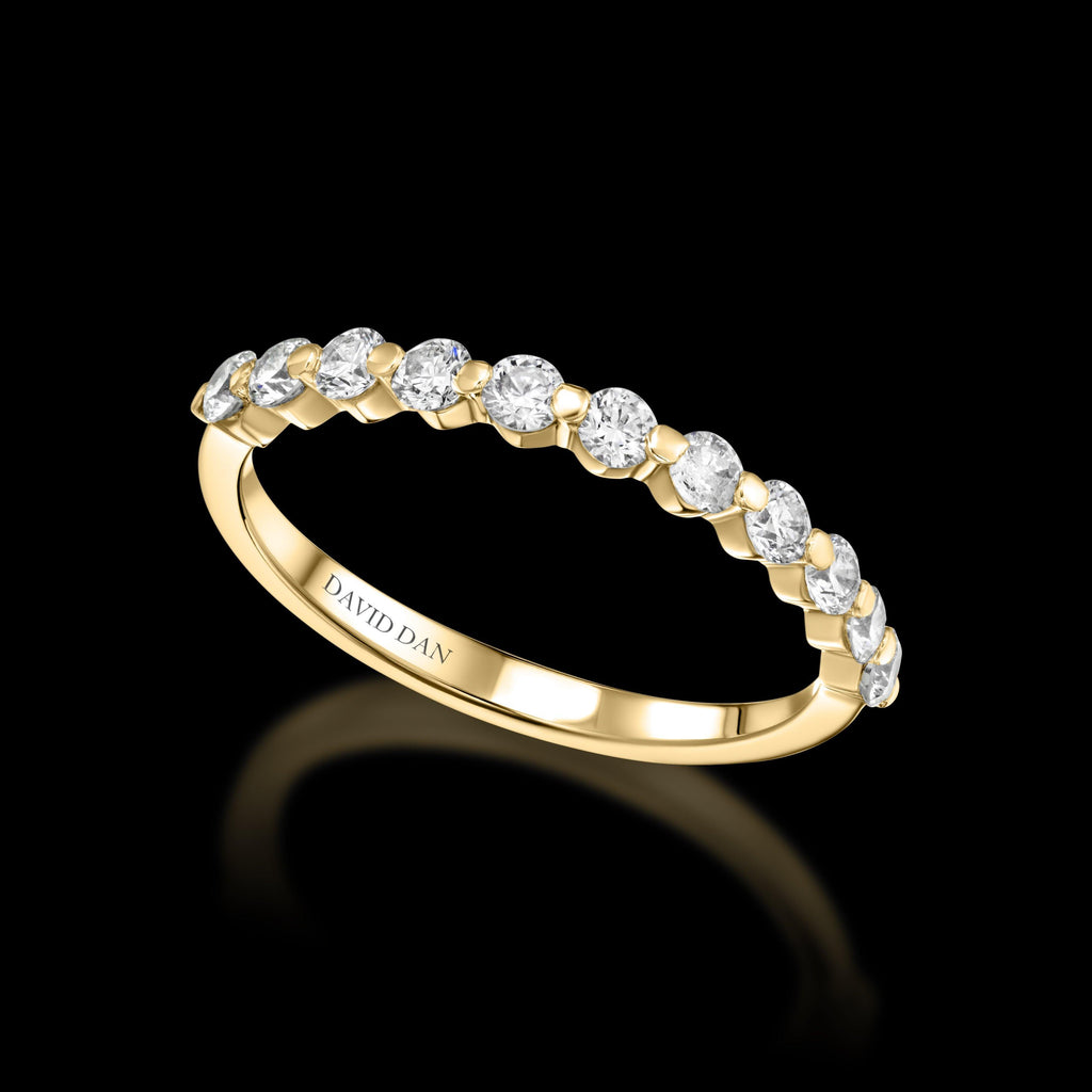 MELROSE 18K Yellow Gold Half Eternity Round Diamond Band