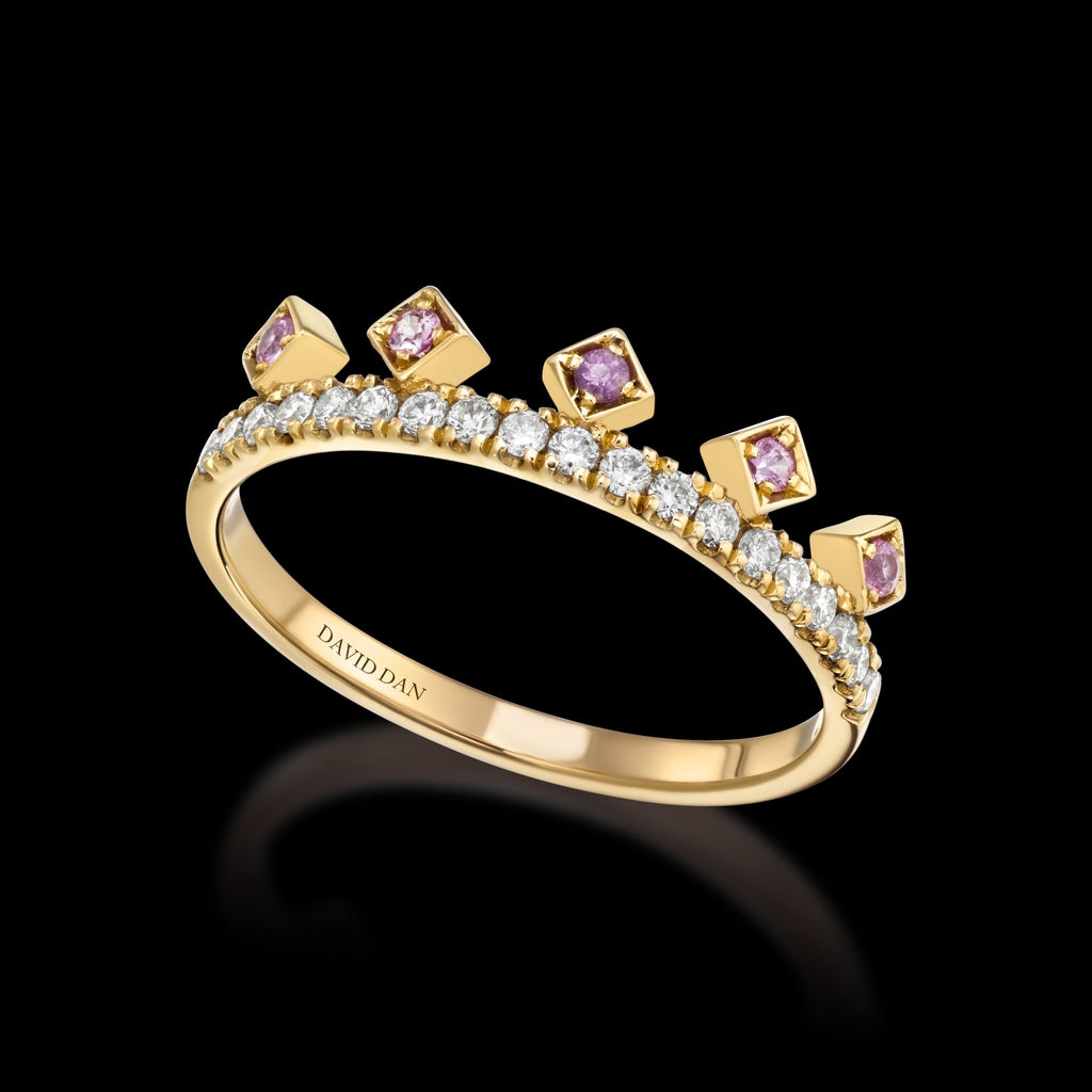 PINK BEVERLY DIAMOND | 18K Yellow Gold Pink Sapphire Crown Ring