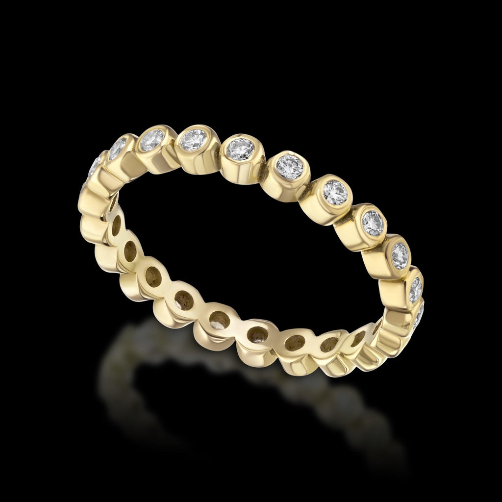 PACIFIC 18K Yellow Gold Round Diamond Eternity Band