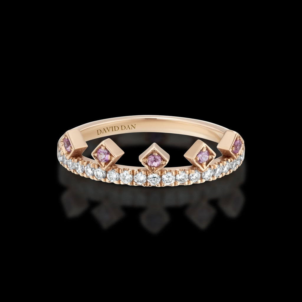 PINK BEVERLY DIAMOND | 18K Rose Gold Pink Sapphire Crown Ring