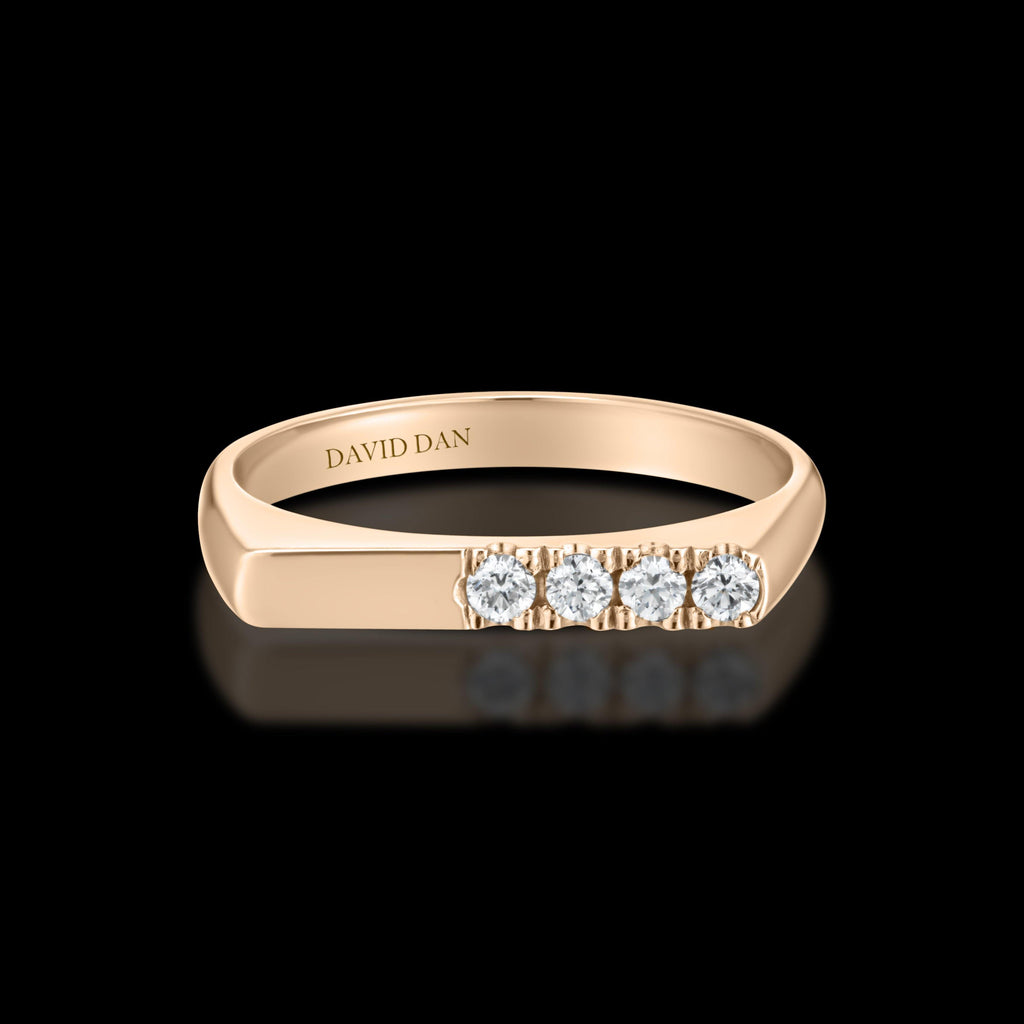 DOWNTOWN 4 Thick | 18K Rose Gold Half Diamond Bar Stack Ring