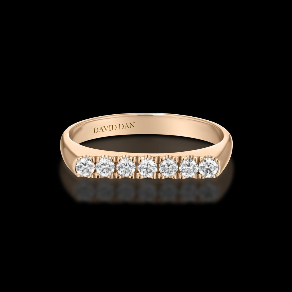 DOWNTOWN 7 Thick | 18K Rose Gold Full Diamond Bar Stack Ring