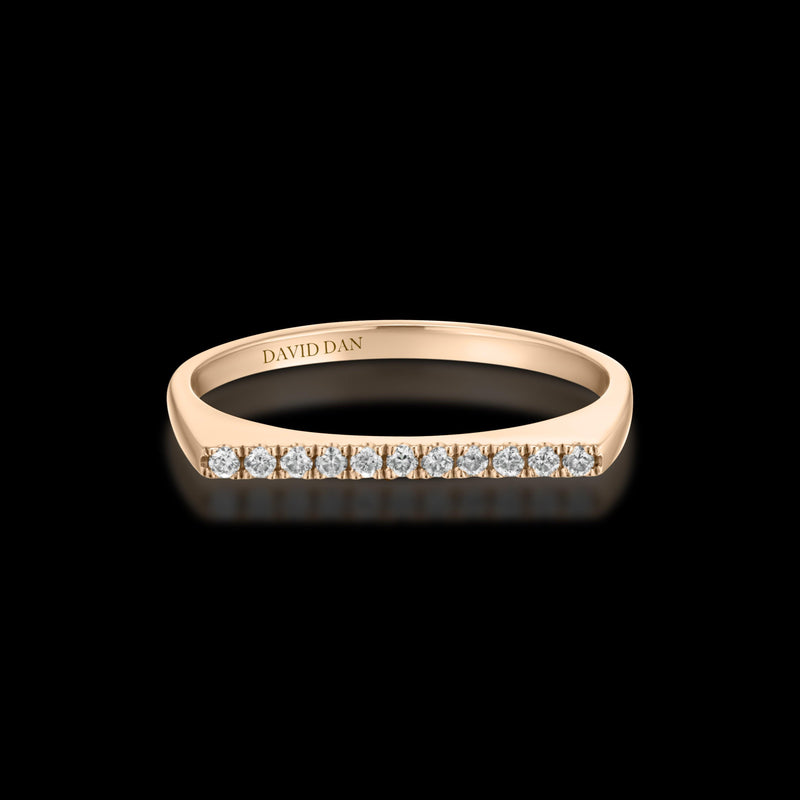 DOWNTOWN 11 Thin | 18K Rose Gold Full Diamond Bar Stack Ring
