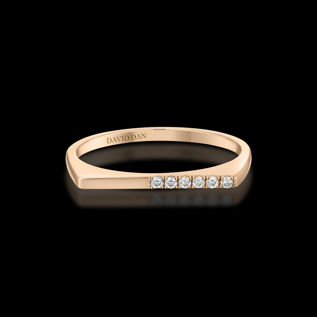 DOWNTOWN 6 Thin | 18K Rose Gold Half Diamond Bar Stack Ring