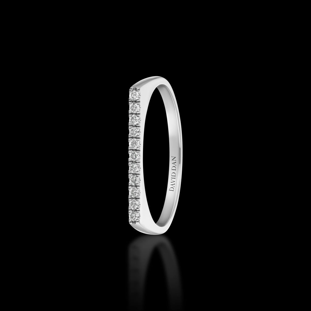 DOWNTOWN 11 Thin | 18K White Gold Full Diamond Bar Stack Ring