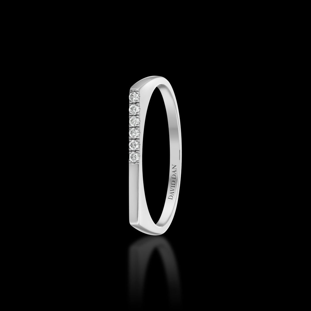 DOWNTOWN 6 Thin | 18K White Gold Half Diamond Bar Stack Ring