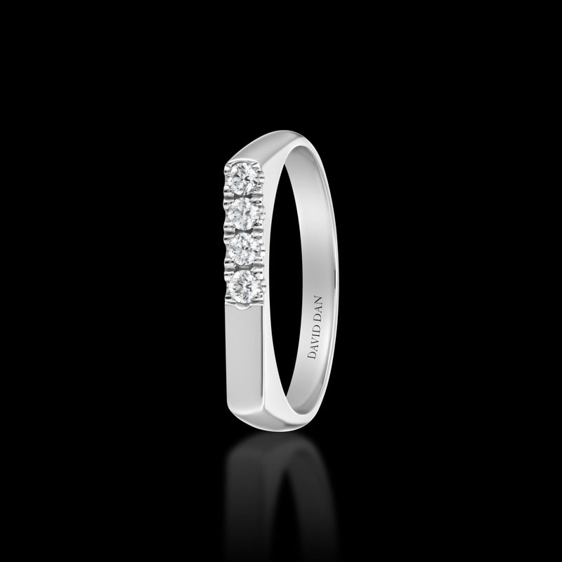 DOWNTOWN 4 Thick | 18K White Gold Half Diamond Bar Stack Ring