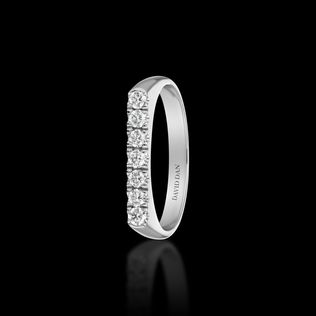 DOWNTOWN 7 Thick | 18K White Gold Full Diamond Bar Stack Ring