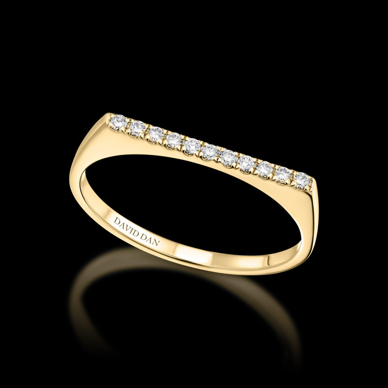 DOWNTOWN 11 Thin | 18K Yellow Gold Full Diamond Bar Stack Ring