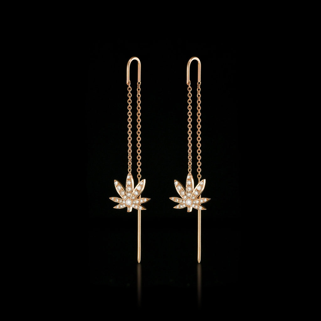 BLAZE 18K Rose Gold Diamond Chain Earrings