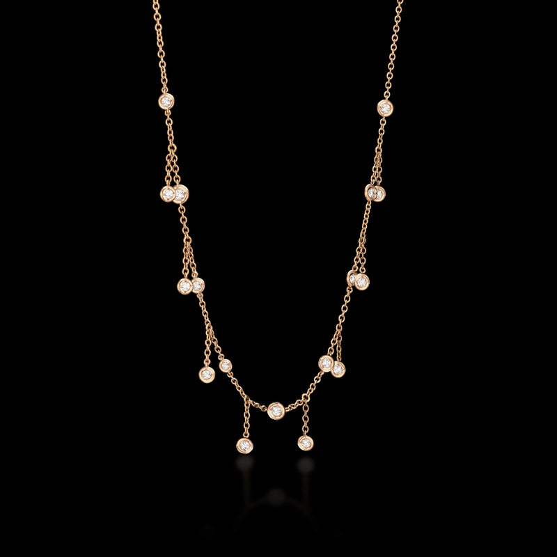 TOPANGA 18K Rose Gold Falling Diamond Necklace