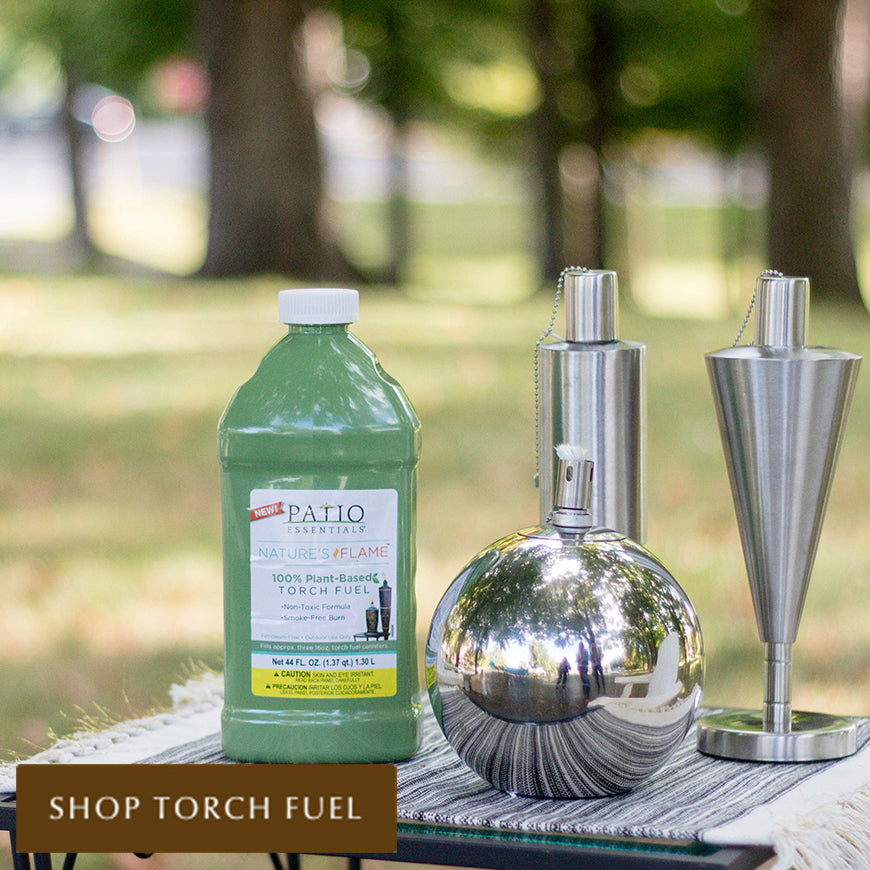 Patio Essentials plant based Nature's Flame torch fuel with stainless steel tabletop torches
