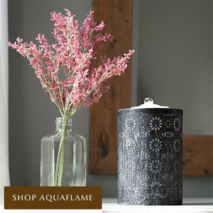 Medium Black Patina AquaFlame LED Fountain on entryway table