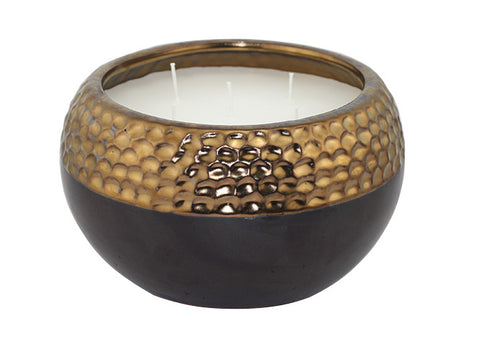 50 oz. 5 Wick Gold Ceramic Pot Citronella Candle, 2 pack | Patio Essentials