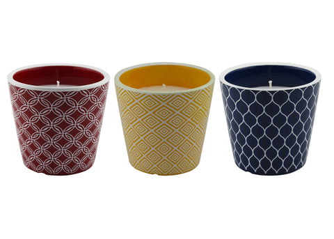 6 oz. Geometric Pattern Citronella Candle, 3 pack | Patio Essentials