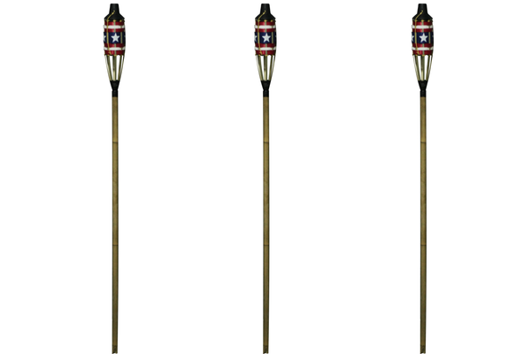 5 ft Stars and Stripes Patriotic Bamboo Torch, 3 pack | Patio Essentials