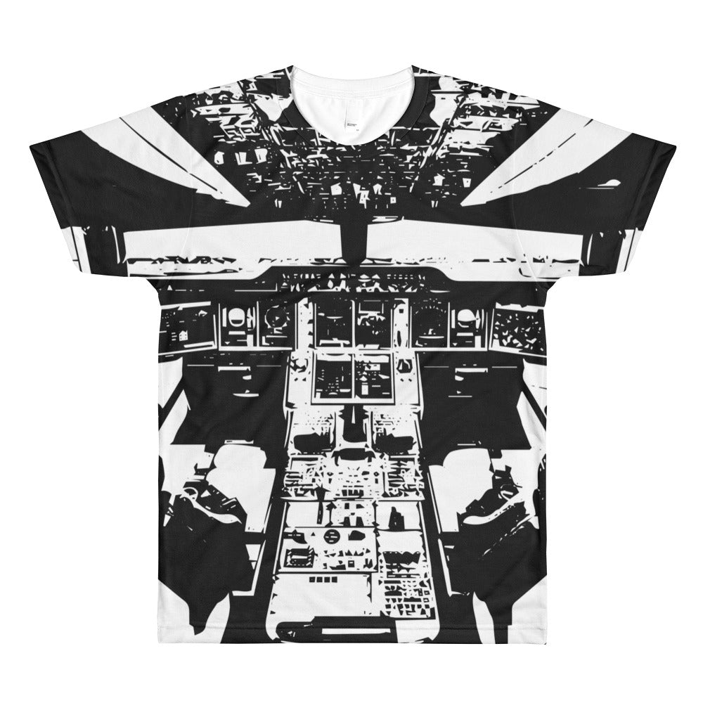 Black and White Aircraft Cockpit T-Shirt