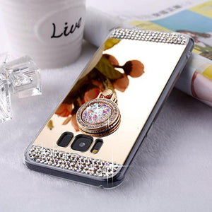 2019 New Fashion  Luxury Diamond Silicone Mirror Ring Case For iPhone&Samsung
