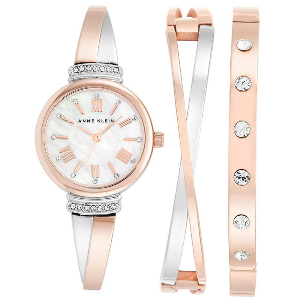 Anne Klein Swarovski Cystal Accents Rose Gold Ladies Watch - AK2245RTST