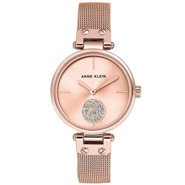 Anne Klein Swarovski Cystal Accents Rose Gold Ladies Watch - AK3000RGRG
