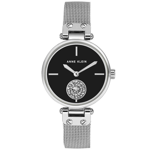 Anne Klein Swarovski Cystal Accents Mesh Ladies Watch - AK3001BKSV