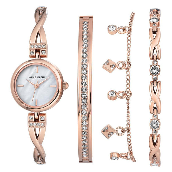 Anne Klein Rose Gold Bracelet Set Ladies Watch - AK3082RGST