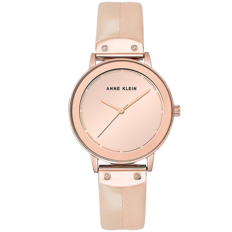 Anne Klein Minimalist Rose Gold Leather Ladies Watch - AK3226RMLP