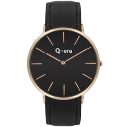 Q-Era Black Leather Men's Watch - QV2806-3