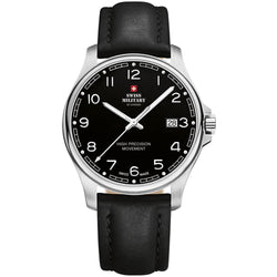 Swiss Military Black Leather Men's Watch - SM30200.24
