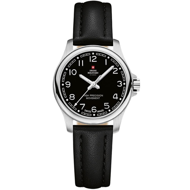 Swiss Military Black Leather Women's Watch - SM30201.24
