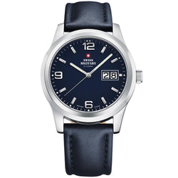 Swiss Military Blue Leather Men's Watch - SM34004.07