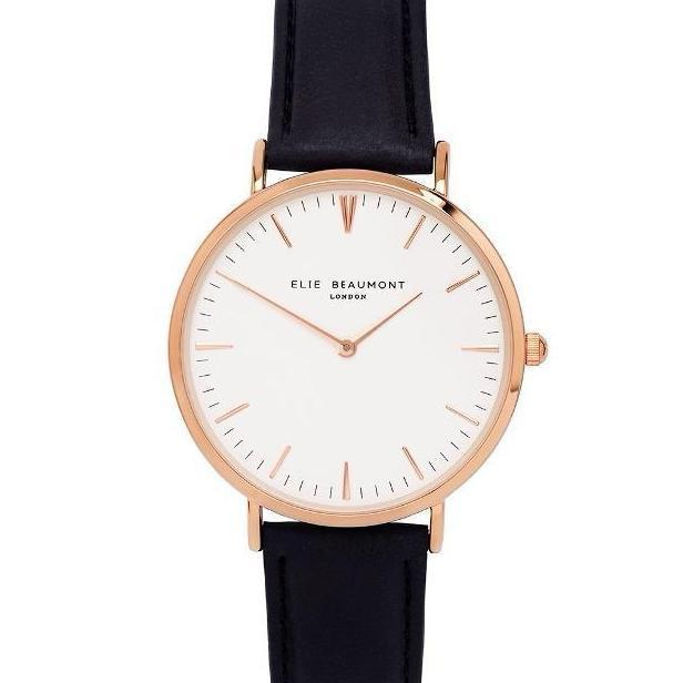 Elie Beaumont The Oxford Large - Black Nappa Leather Ladies Watch