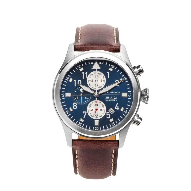 Jack Mason Aviator Chronograph Leather Mens Watch - JM-A102-107