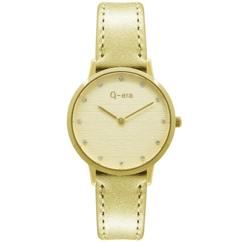 Q-era Metallic Gold Leather Women's Watch - QV2801-91