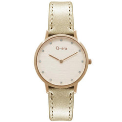 Q-era Metallic Rose Gold Leather Women's Watch - QV2801-92
