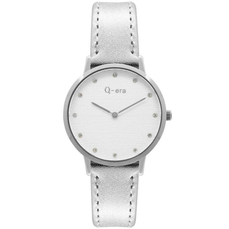 Q-era Metallic Silver Leather Women's Watch - QV2801-94