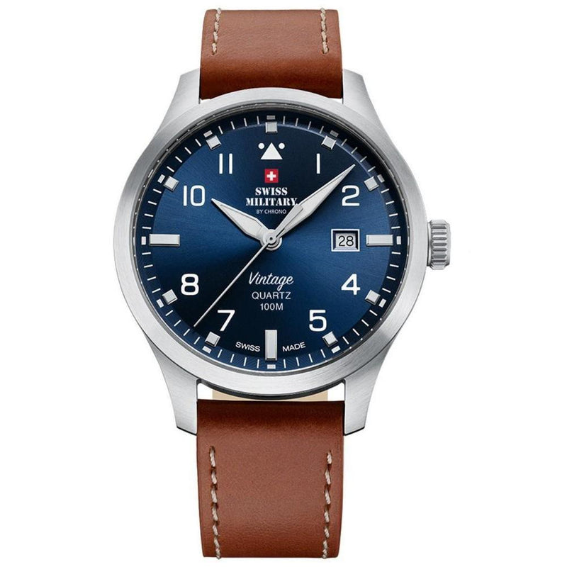 Swiss Military Brown Leather Men's Watch - SM34078.07