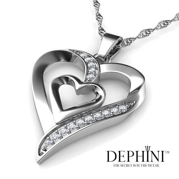 DEPHINI® Debuts Press Release Double Heart Necklace