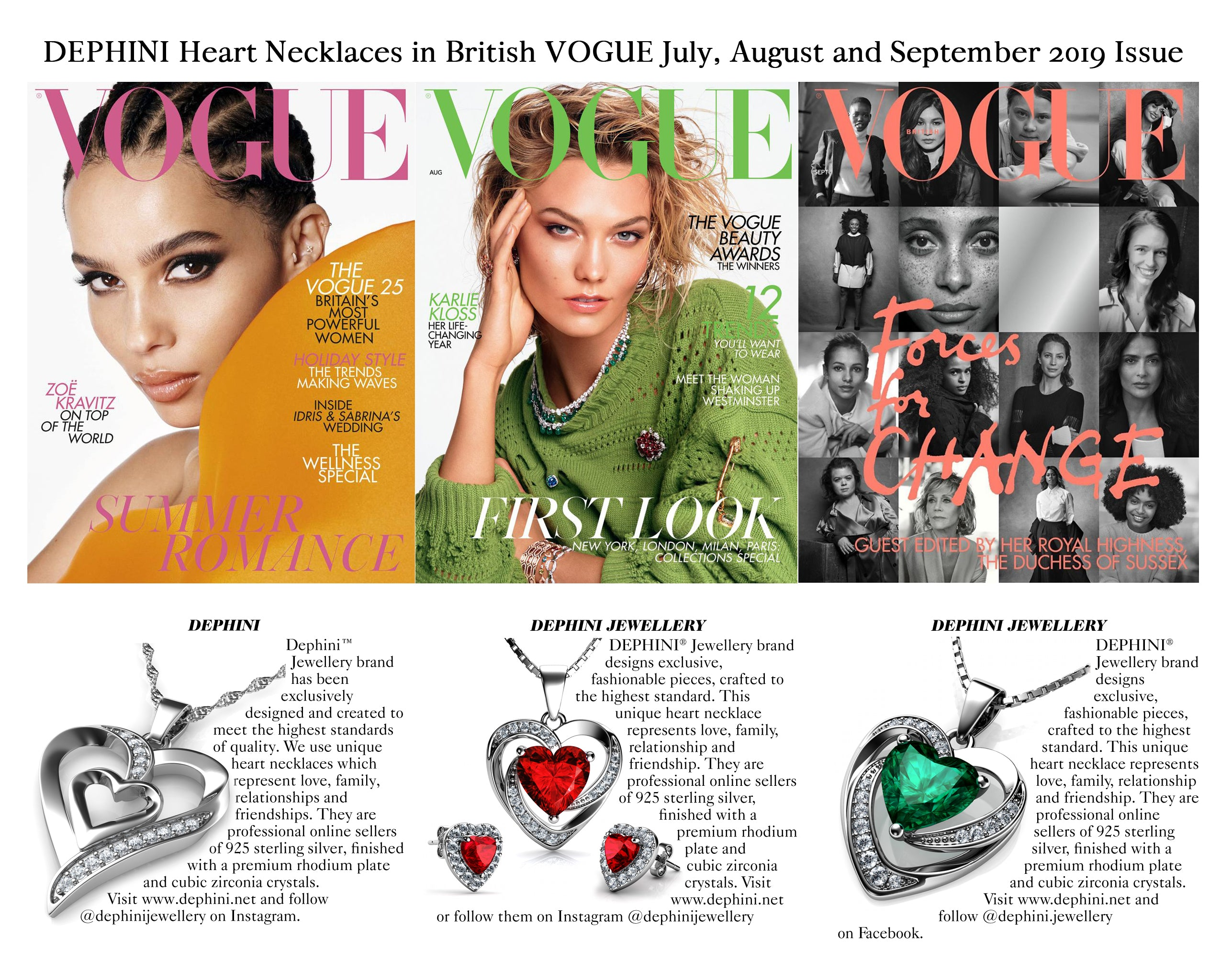 Vogue dephini jewellery heart necklaces reference