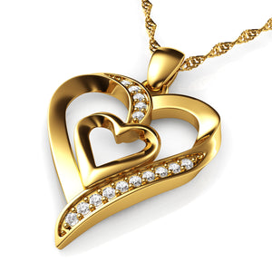 DEPHINI Gold Heart Necklace 18ct Yellow Gold Heart Pendant CZ Crystals