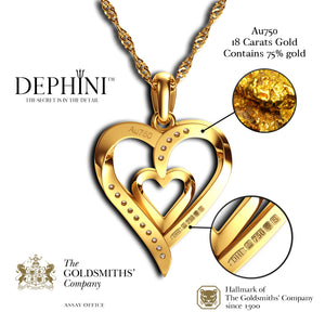 DEPHINI Fine Jewellery Women Pendant 18ct Yellow Gold Heart Necklace CZ Crystals 18ct Gold Chain