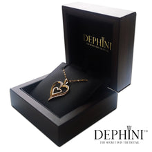Load image into Gallery viewer, DEPHINI Fine Jewellery Women Pendant 18ct Yellow Gold Heart Necklace CZ Crystals 18ct Gold Chain