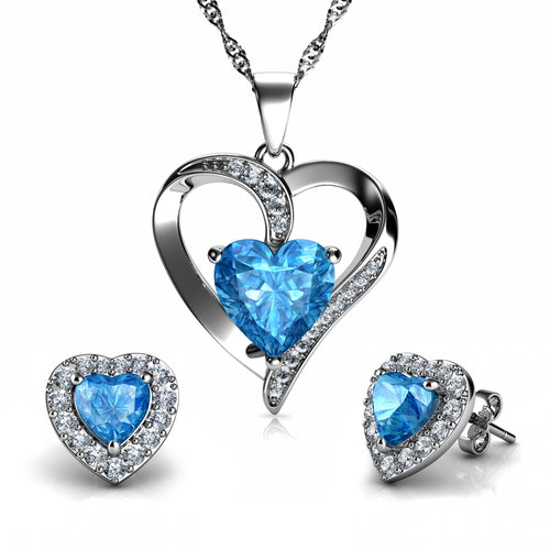 DEPHINI - Aqua Light Heart Necklace & Heart Earrings SET - 925 Sterling Silver with CZ Crystals