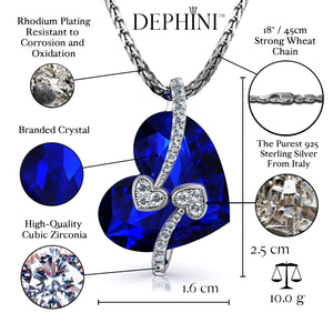 DEPHINI - Blue Heart Necklace - 925 Sterling Silver Pendant SW Crystal