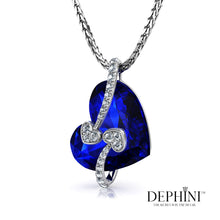 Load image into Gallery viewer, DEPHINI - Blue Heart Necklace - Beautiful Love Heart Pendant With small Cubic Zirconia and 925 Sterling Silver 18 inch Chain – 100% Swarovski® Branded Crystal Necklace For Women - Gifts For Her
