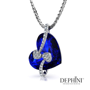 DEPHINI - Blue Heart Necklace - 925 Sterling Silver Heart Pendant – 100% Swarovski® Branded Crystal